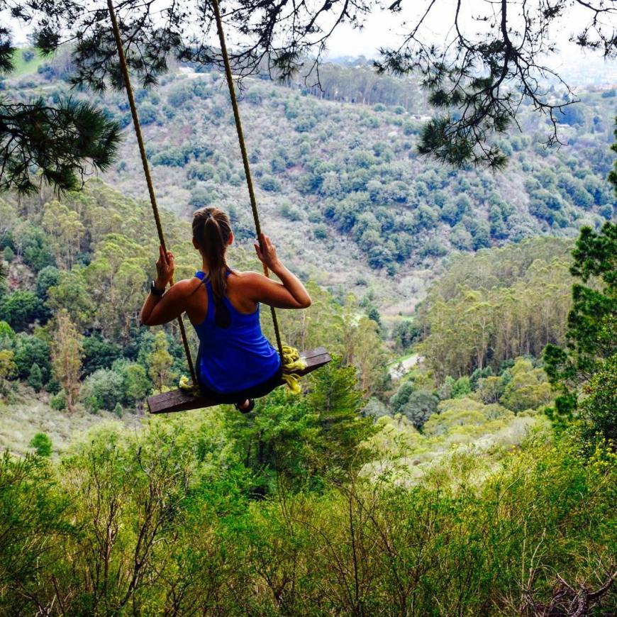 Athletic girl on a tree swing in the hills above Berkeley