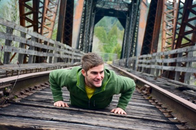 TJ exercising and getting his pushups in on an abandoned railroad bridge