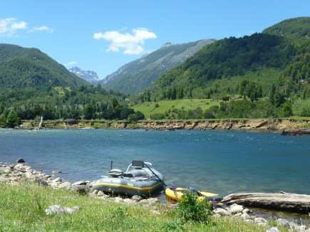Rafting and Kayaking down a river in Coyhaique chile