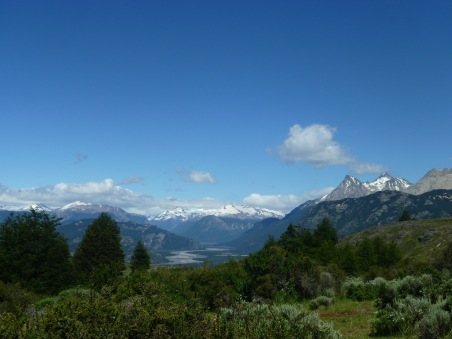 Mountain hikes with snow covered mountains and rivers in Patagonia Chile