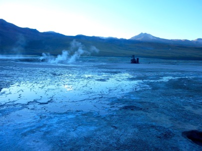 El Tatio Geyser field in the Atacama Desert in Chile at dawn