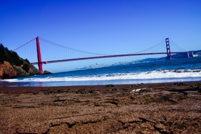 View of the Golden Gate Bridge and the ocean from Kirby Cove
