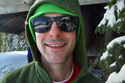 Happy boy taking a break from skiing on a sunny day on Mount Ashland