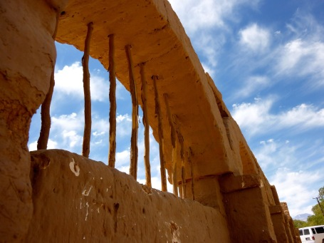 Mud house architecture and blue skies in the town of San Pedro de Atacama Chile