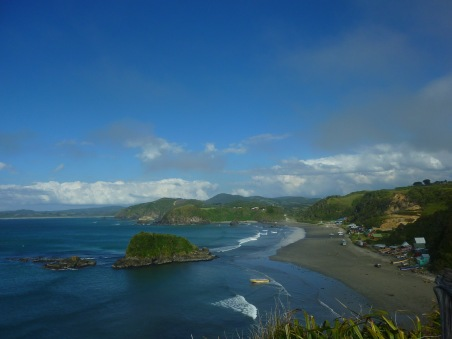 Coast view off of the island of Chiloe where penguins rest
