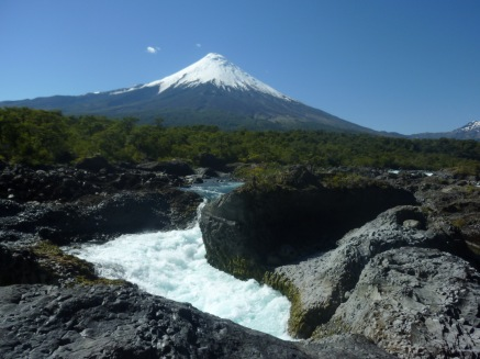 Waterfal and river of Petrohue with the Osorno Volcano in the background