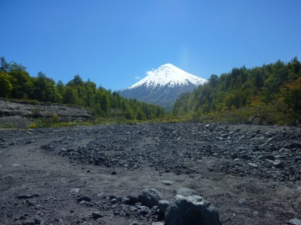 Dry river bead on a hike around the base of the Osorno Volcano in Puerto Varas Chile