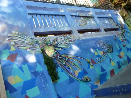 Colorful mural of humming birds in the UNESCO world Heritage site of Valparaiso