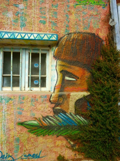 Mural painting of a native man in the UNESCO World Heritage site of Valparaiso