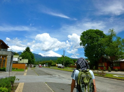 Walking around the town of Pucon Chile with the snow covered Villarrica volcano in the background