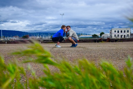 Couple enjoying fitness together and exploring the island of Alameda California