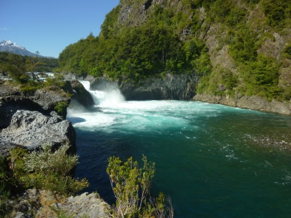 Petrohue waterfall and rive in Southern chile