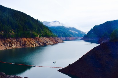 Overcast hike around a reservoir in northern California