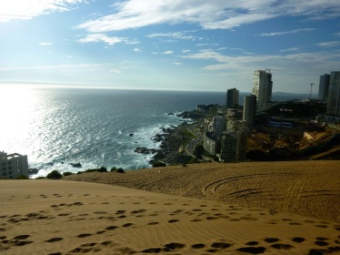 Sand dunes and city views in the beach town of Con Con Chile