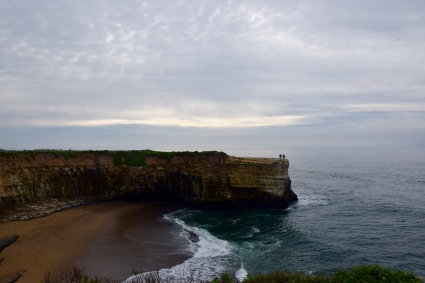 Hiking on sea cliffs at dawn in Santa Cruz California