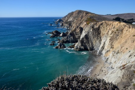 Landscape of sea cliffs at Point Reyes in California