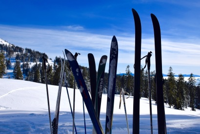 Skiing on a sunny day on Mount Ashland in Oregon