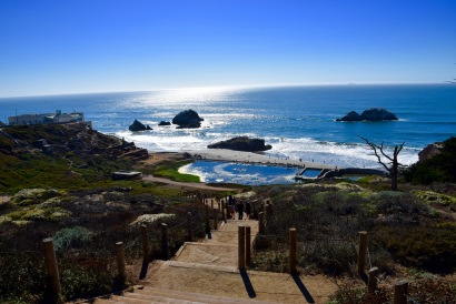 Landscape views on a sunny day at Lands End in San Francisco