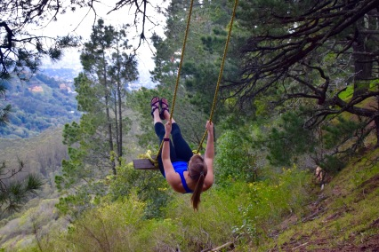 Swinging on a swing we found hiking off trail in the Berkeley Hills