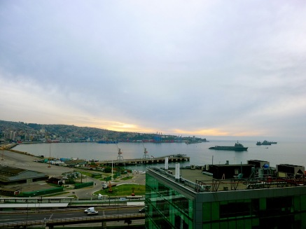 Port town of Valparaiso Chile at sunset