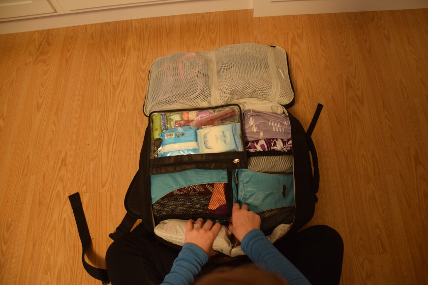 Tortuga carry-on backpack all packed and everything fits