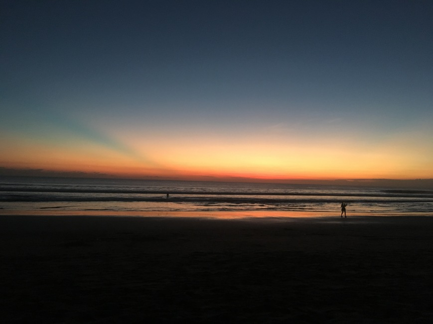 The end of sunset at the beach in Bali