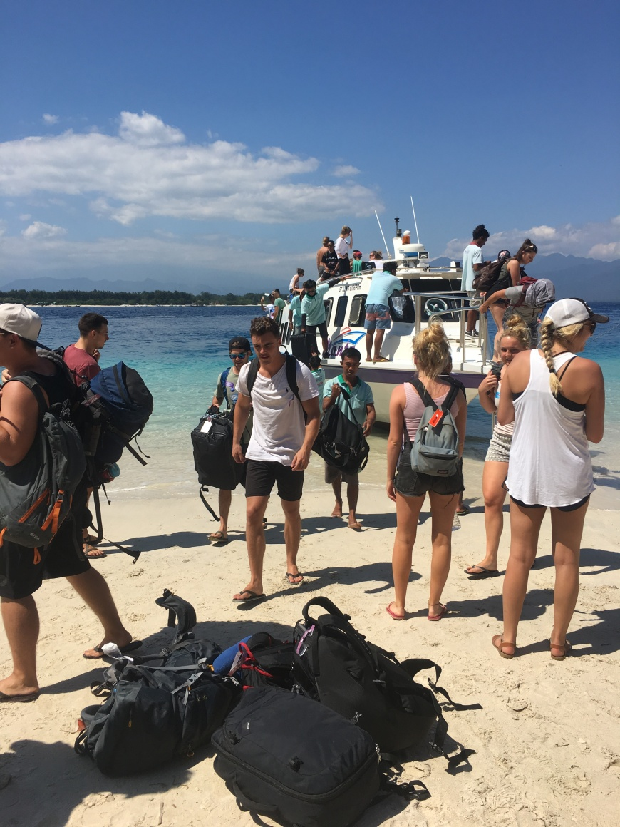 Disembarking from the fast boat at Gili T