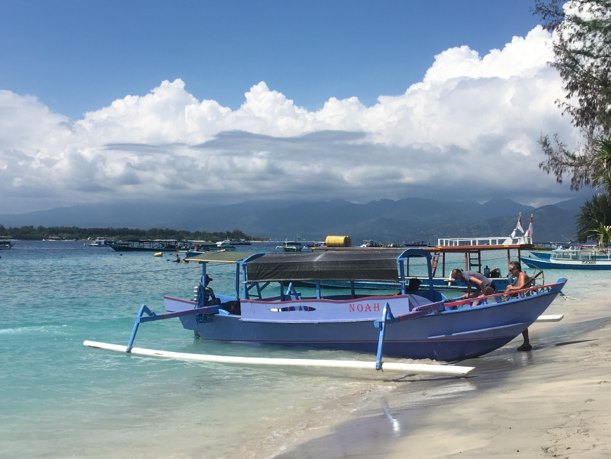 Traditional boats on the beaches of Gili Islands