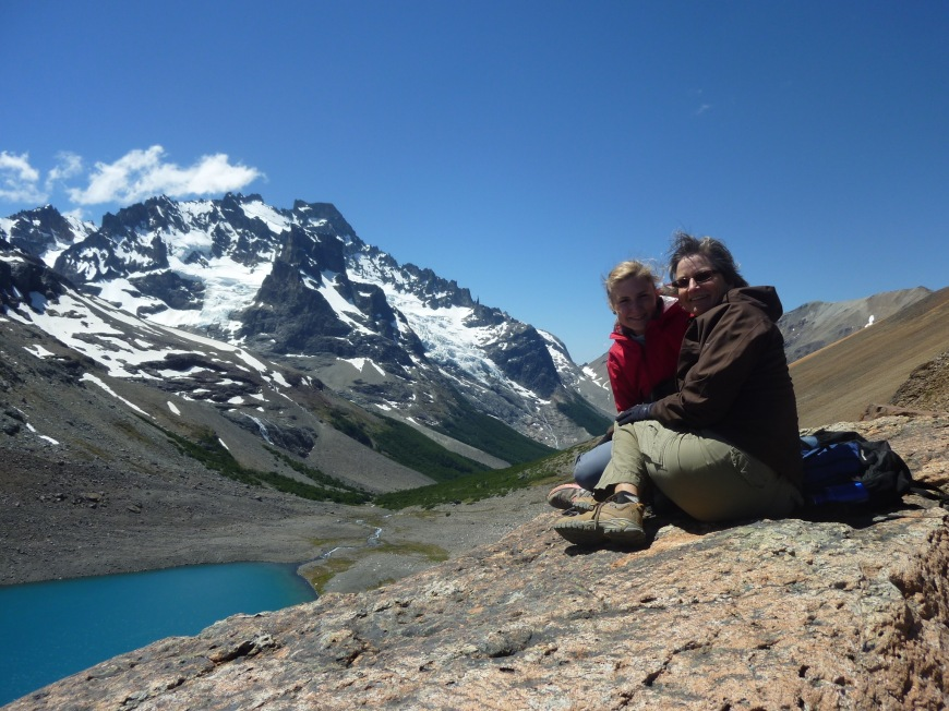 Hiking to the top of glacial mountain lakes with mom in Coyhaique Chile