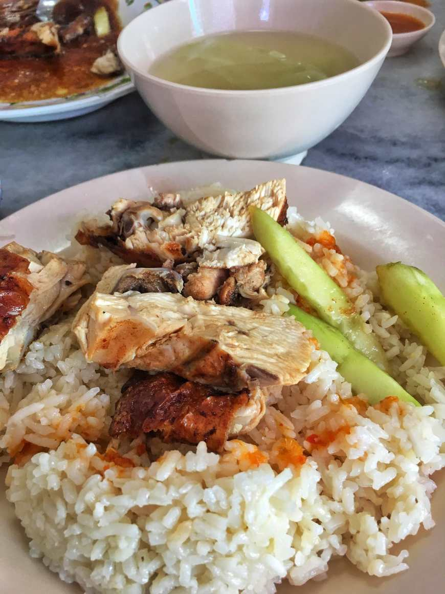 Chicken Rice is a popular meal and street food dish found in George Town, Malaysia