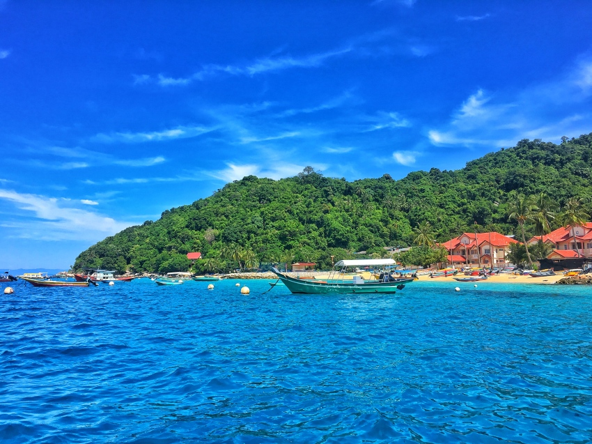 Long beach side of Perhentian Kecil taken from the boat we arrived on