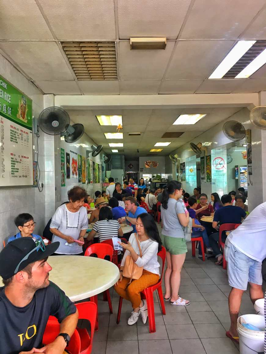 Waiting for our food at a hawker style chicken rice restaurant in George Town, Penang, Malaysia