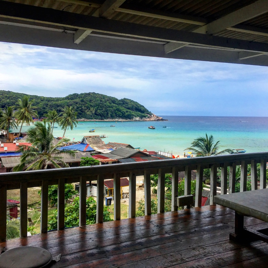 View of the ocean from our bungalow at Mohsin Chalet on Long Beach Perhentian Kecil