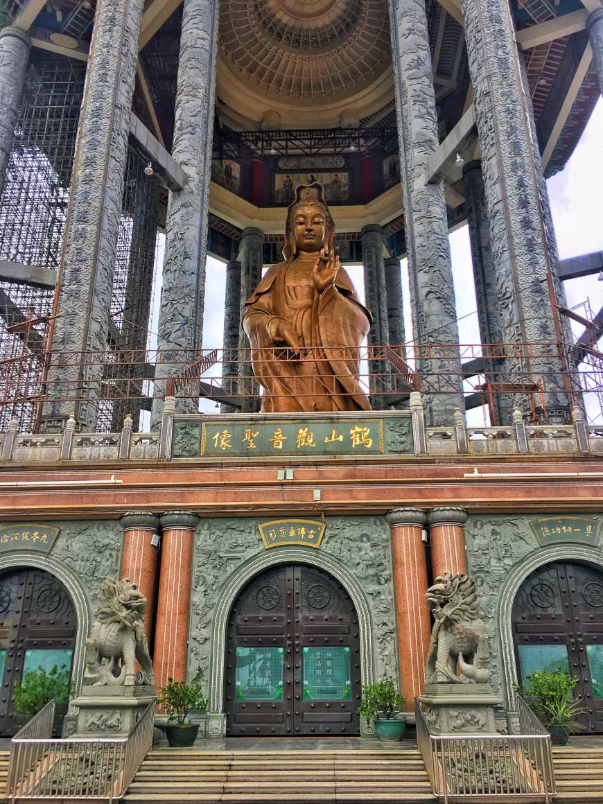 Kuan Yin Statue at Kek Lok Si Temple, the largest buddhist temple in Malaysia, above the hills in Penang