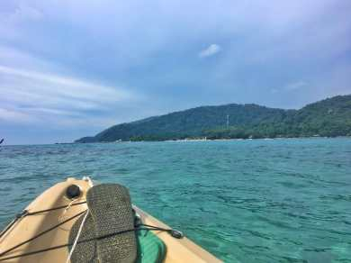 View from our kayak on the open ocean at Perhentian Kecil in Malaysia