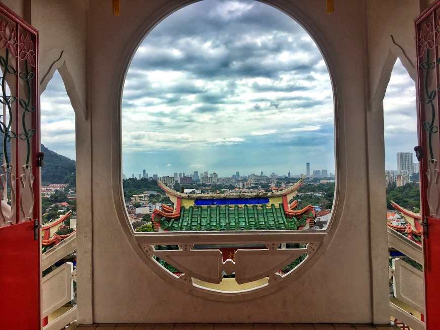 City views at Kek Lok Si Temple, the largest buddhist temple in Malaysia, above the hills in Penang