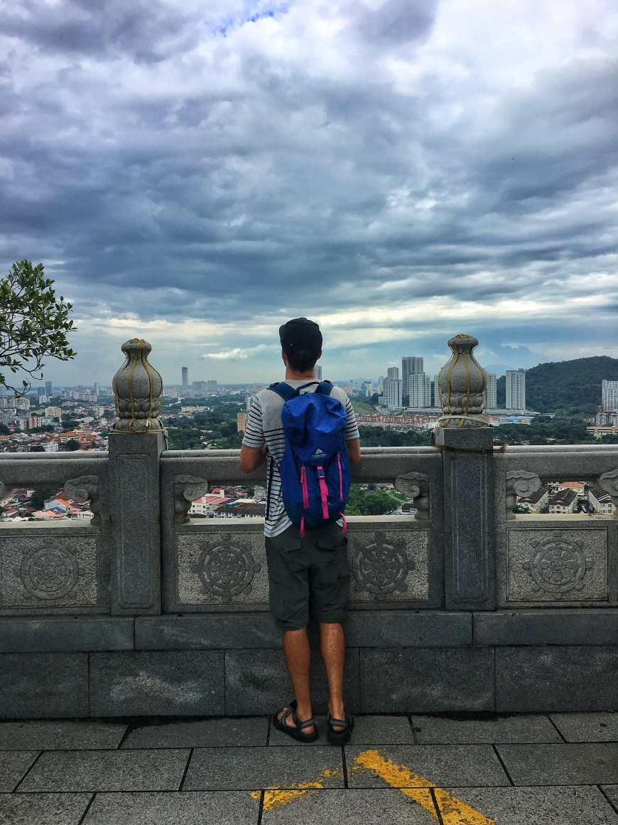 Looking out over city from the statue at Kek Lok Si in Penang Malaysia