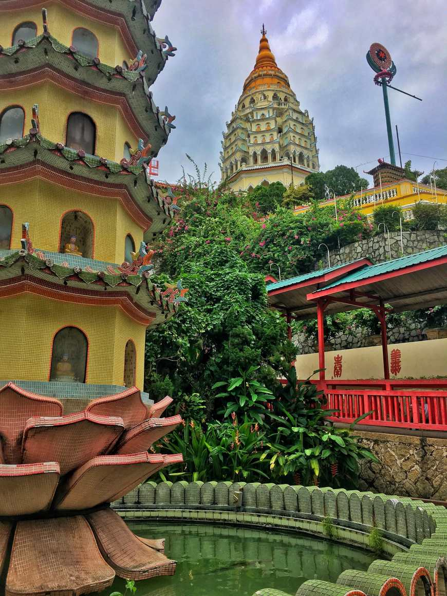 Temple at Kek Lok Si with a view of the Pagoda