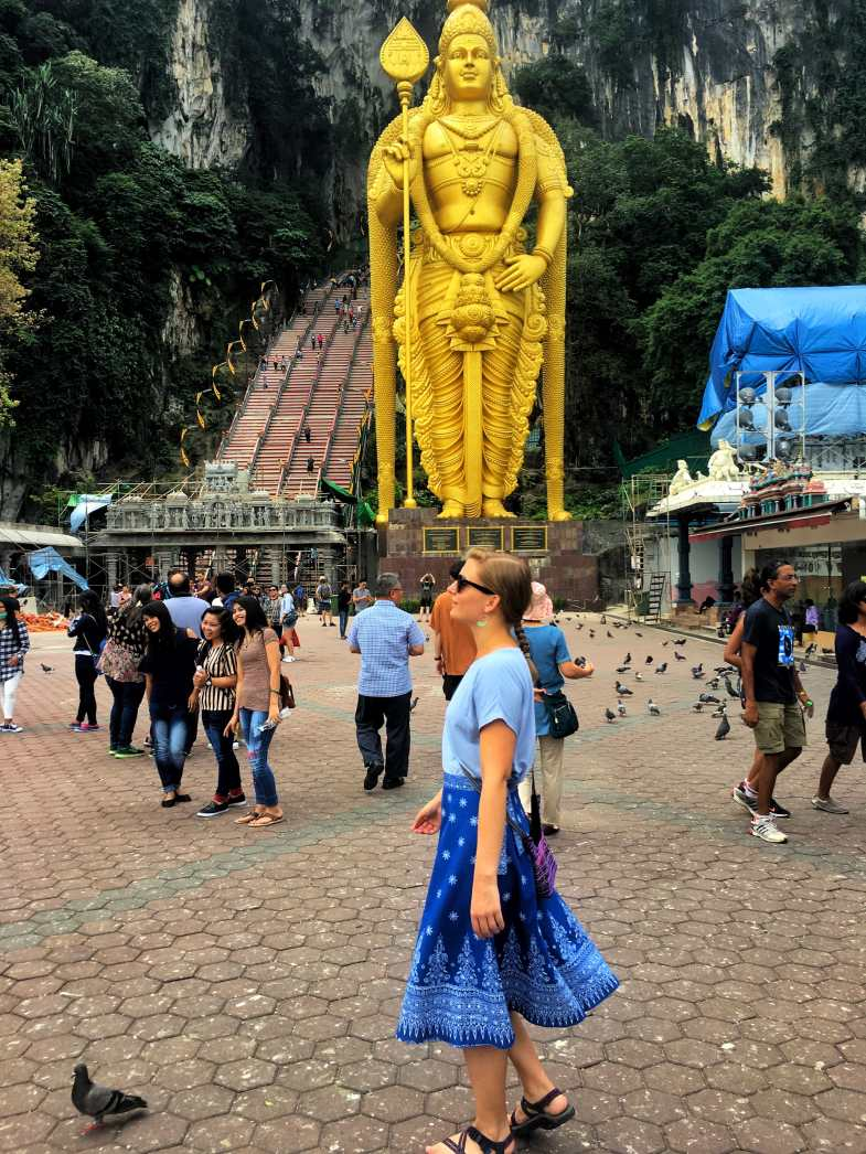 Wearing an over-the-knee skirt for temples and visiting the Batu Caves in Malaysia