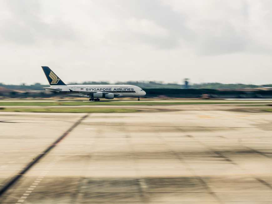 Singapore Airlines flight taking off the tarmac