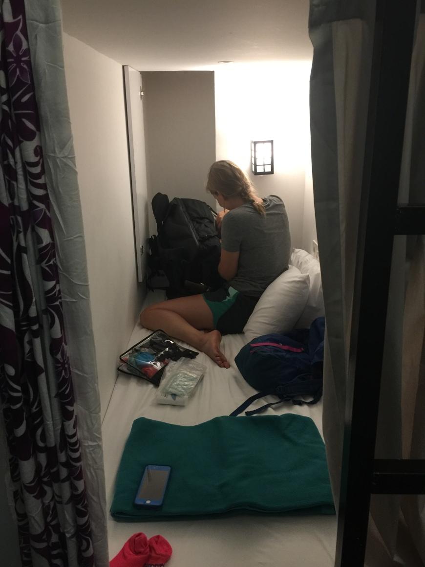 Alli in her hostel pod