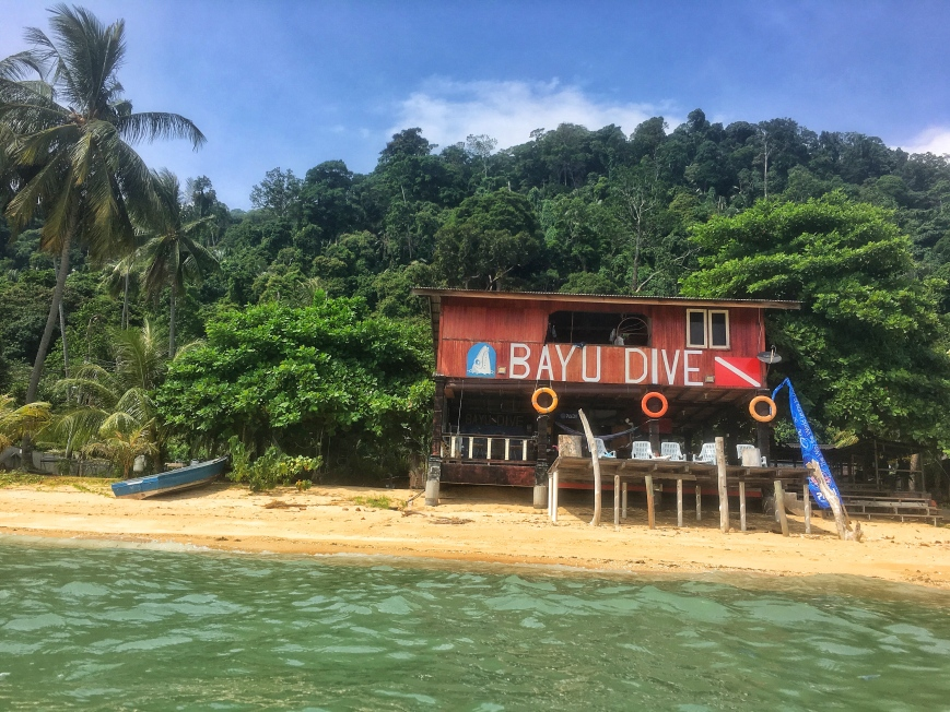 View, from the water, of Bayu Dive Center on Tioman Island in Malaysia
