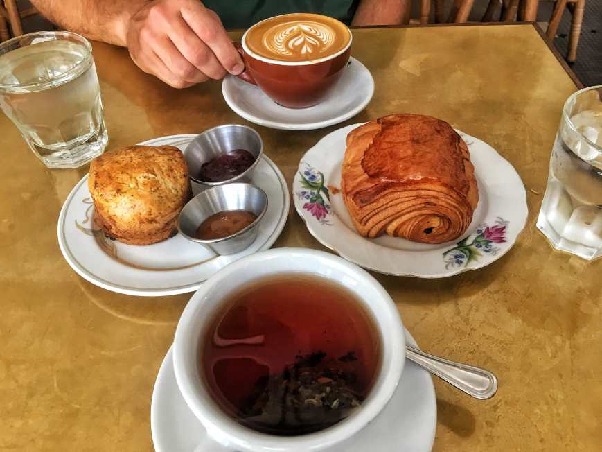 Our afternoon tea time treats at Tiong Bahru bakery in Singapore. Tea coffee and two pastries!