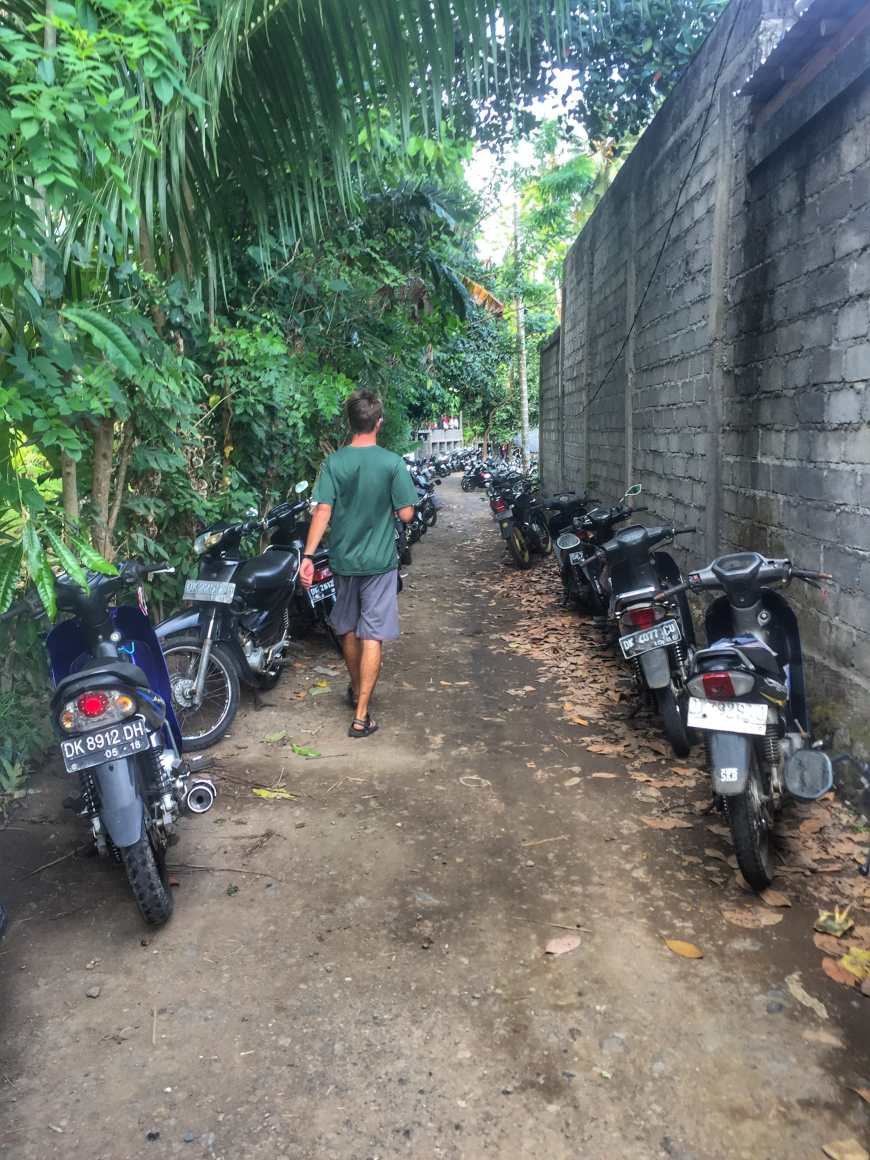 Walking through parked motorbikes in Bali just before we stumbled across a cock fight