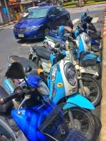 Color mapping our way through Phuket and found a line of blue motorbikes and cars