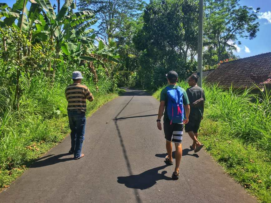 Walking around the outskirts of Bangli, Bali with two locals we became friends with