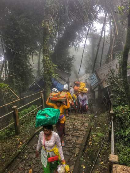 Parade Of Women Carrying Offerings To The Top Temple