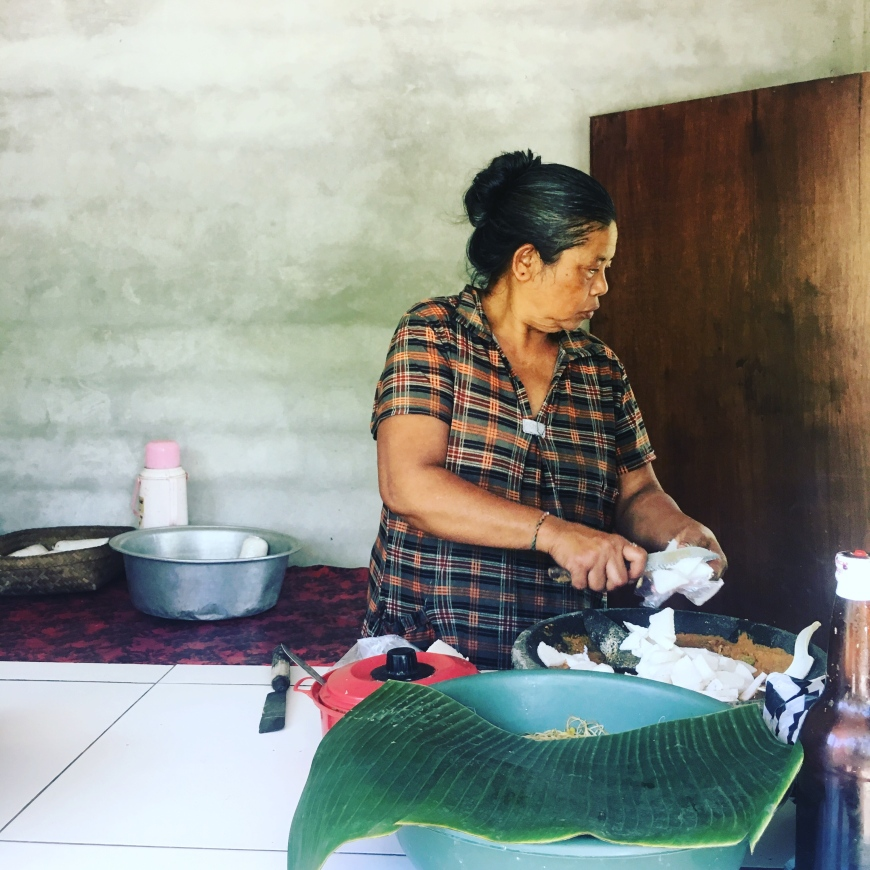 Local Balinese Woman Preparing Our Lunch On The Side Of The Road