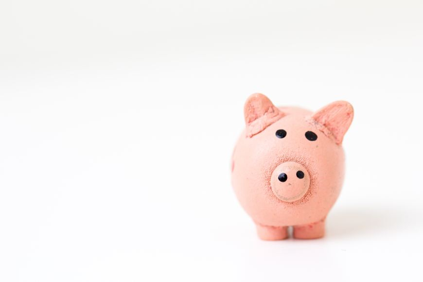Piggy Bank On A While Background