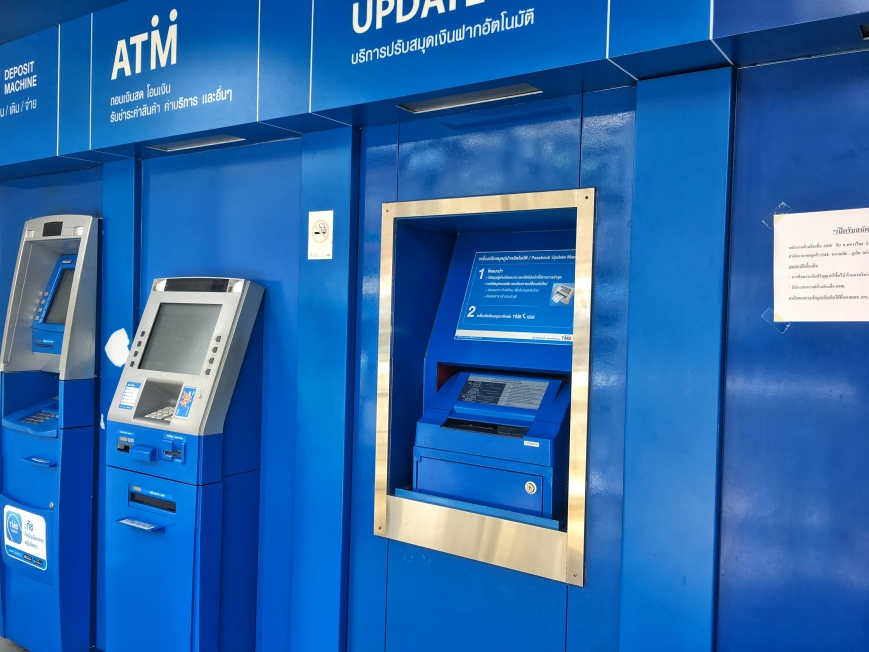Blue ATMs on the streets of Old Town, Phuket in Thailand